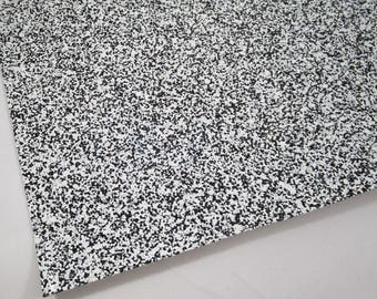 SAMPLE 4X4 Black and White Chunky Glitter 4X4 Fabric Sheet on White Canvas