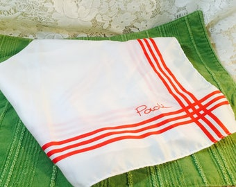 Vintage Paoli Scarf - White and Red - Stripes - 1970's