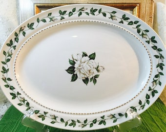 Vintage Superior Hall Quality Dinnerware Oval Serving Platter - Pattern Cameo Rose