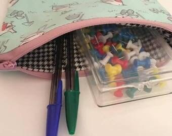 Sale - Ready to go - Pencil case - make up case - birds