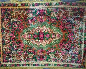 Soviet Vintage Plush Tablecloth,Soviet Vintage Plush Bedspread,Fringed Table Cloth,Home Decor,Plush Made in USSR,sovite textile,plush carpet