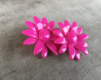 FREE SHIPPING | hot pink flower clip-on earrings