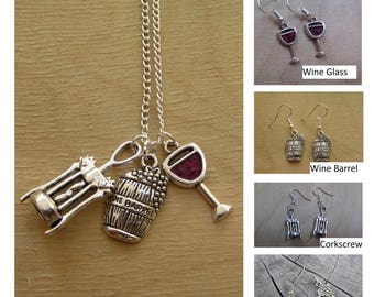 Wine Glass + Corkscrew + Wine Barrel Necklaces ... Earrings Set ... Grapes ... Boho Indie Urban Bohemian ... Empowering Jewelry Youths