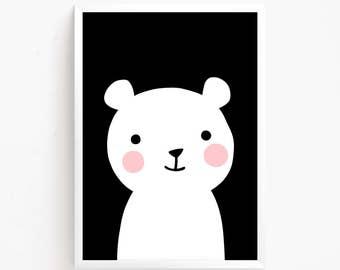 Sale 50% Off - Cute Bear Black and White Poster Printable art Baby Girls animal illustration Kawaii Kids room print nursery instant download