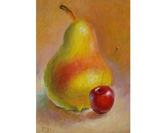 Still life, oil painting on cardboard 4.5x6.5',kitchen decoration,handmade,inexpensive gift,impressionism,Pear, cherry