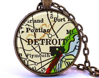 Detroit, Michigan Map Pendant Necklace - Created from a vintage map published in 1937. Detroit Gift, Detroit Jewelry, Detroit Necklace