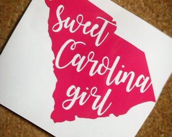 Sweet Carolina Girl Decal