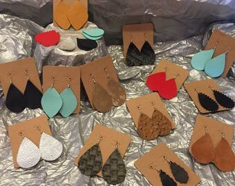 Super light weight, stylish, and homemade leather earrings.