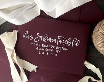 Burgundy Envelopes with Hand Lettering, Hand lettered Envelopes, Wedding Envelopes, Calligraphy Envelopes, Brush Hand Lettering