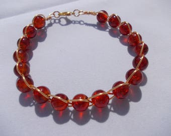 Gold Wire Wrapped Amber Bracelet