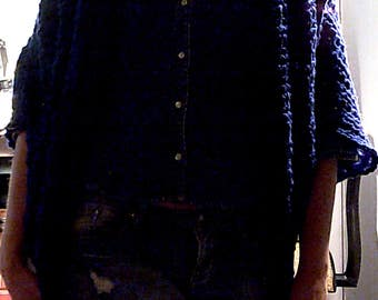 Handmade Crocheted Navy Blue Shrug