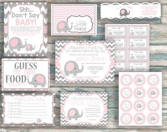 Little Peanut Baby Shower - Party Pack - Printable Decorations - Elephant