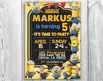 Minions invitation, 5x7 / 4x6 Despicable Me Invitation, Minion Card Printable, Minions Birthday Party, Minions Printable.