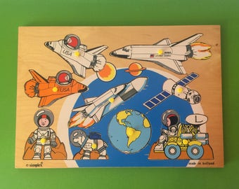 Simplex made in Holland ~ Vintage Wooden Puzzle ~ NASA Rocket Launch