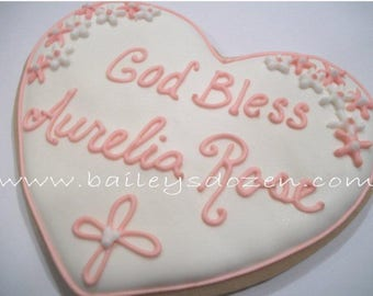Baptism favors | Large heart cookies | Communion favors | Custom decorated cookies | hearts and flowers and infinity cross