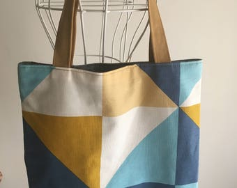 Handmade cotton shopping bag with handles made of reindeer-Cotton crafts shopping bag