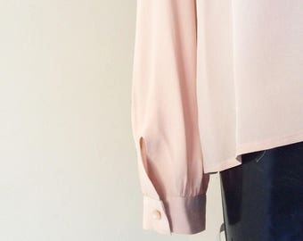 Pure silk shirt vintage 1980 romantic pink size S/M