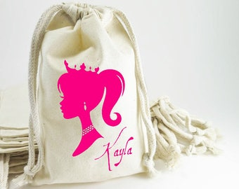 Princess with Crown Party Favor Gift Bag, Queen Themed, Welcome Party Bag,Birthday Girls Party Gift Bag, Custom, Pouch, Loot, Drawstring Bag
