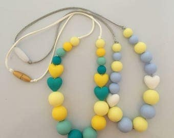 Blue teething necklaces