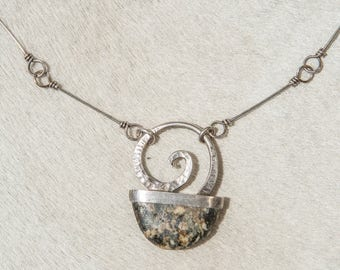 Spiral Stone Silver Necklace