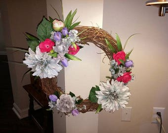 Decorative Silk Flower Grapevine Wreath