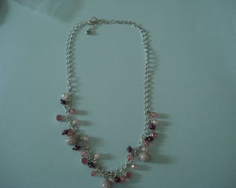 Pink beaded silvertone necklace