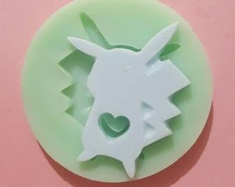Flexible silicone mold shiny Pikachu silhouette (random color)