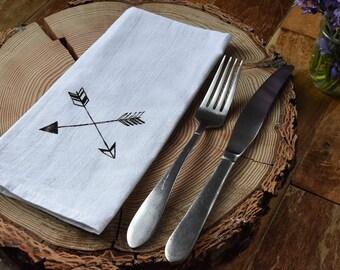 Cloth Napkins Dinner Napkins Hand Screen Printed Arrows set of 4