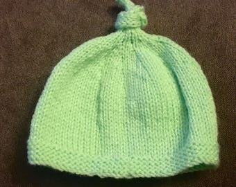 Soft top knot baby hat 0-3 mo