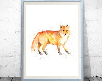 Watercolor fox, fox painting, fox poster, fox printable, fox nursery print, cute fox print, fox watercolor art, fox watercolor print, foxes