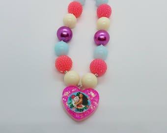 Moana inspired chunky necklace, Moana inspired bubblegum necklace, Moana necklace, Moana, princess, chunky necklace, bubblegum necklace