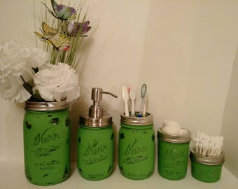 Green Distressed Mason Jar Bathroom 5 Piece Set