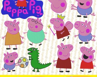 Peppa Pig of 11 Embroidery Designs Sewing Patterns Kit Brother pes dst hus jef emb with Resizer Converter Software Included