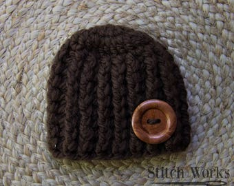 Crocheted Baby Beanie - Brown - Wooden Button - Newborn - Baby Boy