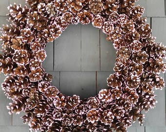 Pinecone Wreath Pink Frosted