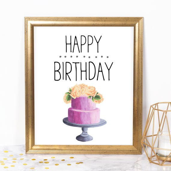 Happy Birthday Cake 8x10 Printable Instant Download Birthday