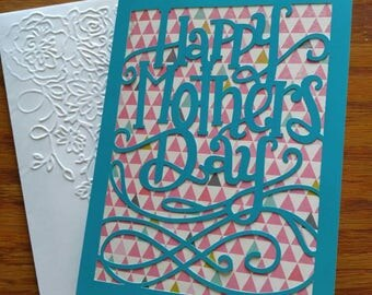 Handmade Happy Mothers Day card with embossed envelope
