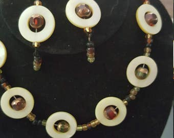 Shell and Glass Bead Jewelry Set
