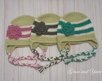 Crochet striped earflap hat with flower