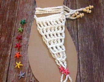 Crochet Barefoot Sandals with Starfish Bead