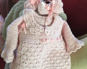 Baby Girl Hand Crocheted Matinee Coat & Bootees embellished with Satin Ribbon and Roses.