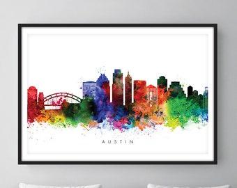 Austin Skyline, Austin Texas Cityscape Art Print, Wall Art, Watercolor, Watercolour Art Decor
