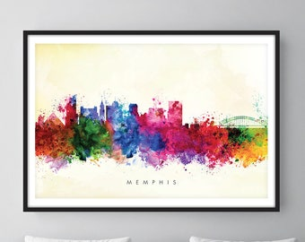 Memphis Skyline, Memphis Tennessee Cityscape Art Print, Wall Art, Watercolor, Watercolour Art Decor