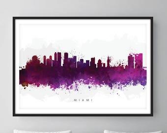 Miami Skyline, Miami Florida Cityscape Art Print, Wall Art, Watercolor, Watercolour Art Decor