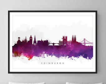 Edinburgh Skyline, Edinburgh Scotland Cityscape Art Print, Wall Art, Watercolor, Watercolour Art Decor [SWEDI08]