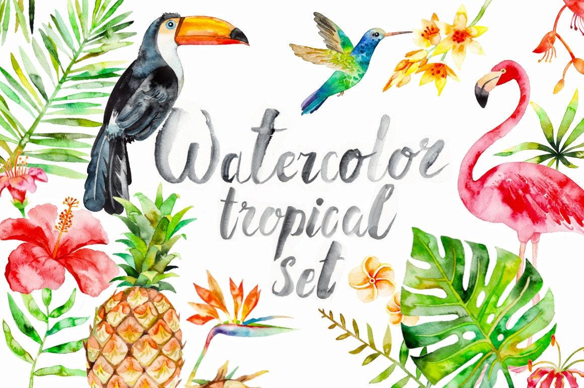 Watercolor Tropical Clipart summer flamingo flower