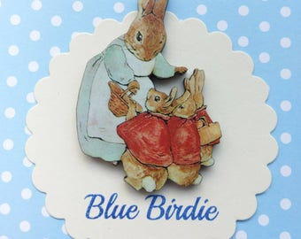 Mrs Rabbit and family brooch Beatrix Potter jewelry badge wooden Mrs rabbit badge Peter rabbit jewellery vintage book gifts