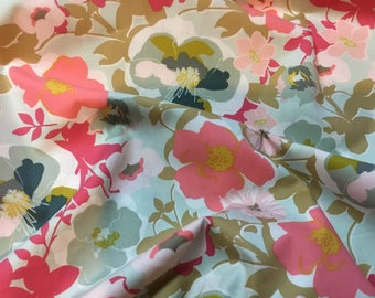 Fabric by the yard- Floral patterned Fabric - Art gallery Blooma Garden in Pastiche - Light color floral fabric-quilting fabric- coral-