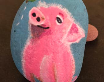 Pig and Butterfly Painted Rock & Paperweight
