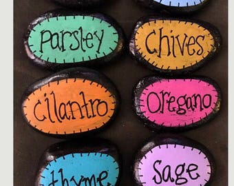 Herb Garden Stones Markers --Painted Rocks-- Ala Carte Build Your Own Set!